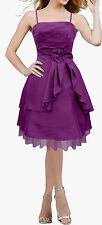 NEW PURPLE SATIN CLARITY DRAPE BOW EVENING WEDDING PARTY PROM DRESS SIZE 18 BN