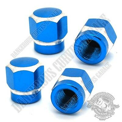 4 Blue & Silver Contrast Cut Hex Billet Aluminum Tire Valve Stem Dust Caps