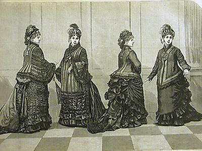 Victorian Fashion LADIES WALKING and OVER SKIRTS 1875 Antique Art Print Matted