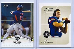 Details About 2 Tim Tebow 2016 07 Leaf Baseball 1st Ever Rookie Card Football Rookie Lot