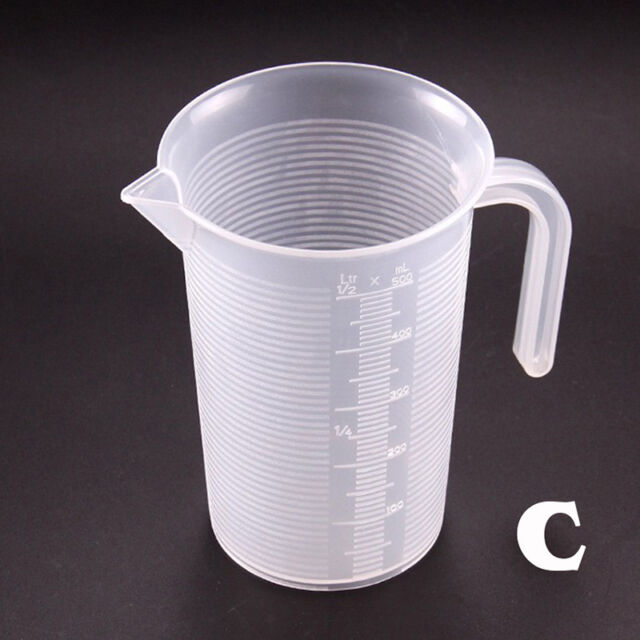4Sizes Kitchen Measuring Jug Plastic Cup Graduated Surface Cooking Bakery Lab w//