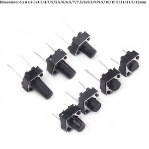 2-100pcs 4.3mm SPST Small Mini Micro Momentary Tactile Push Button Switch 6x6mm