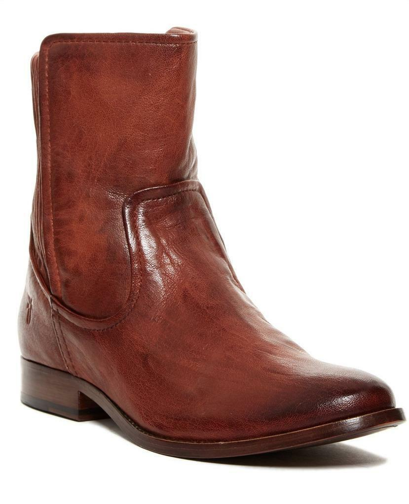 New in Box - $428 FRYE Melissa Scrunch Cognac Short Brown Leather Boot Size 6