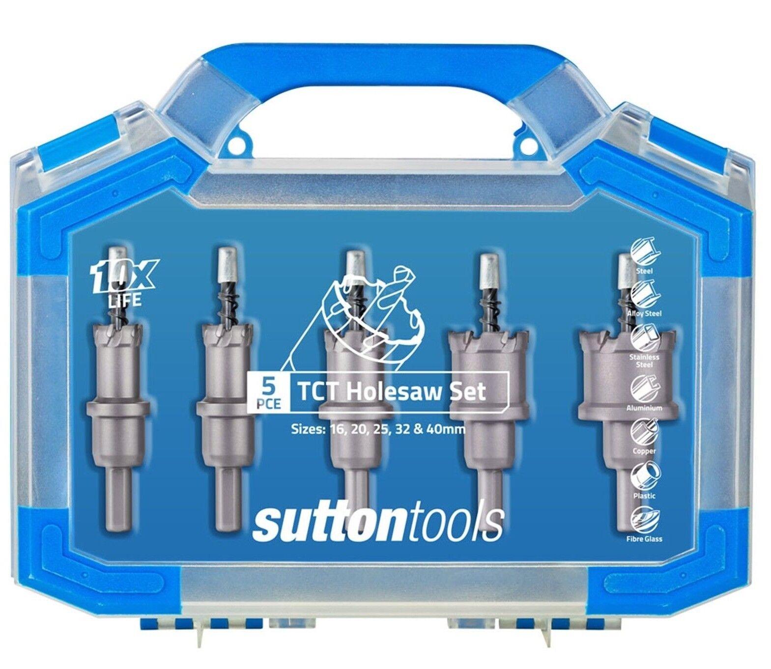 Sutton Tools 5-PIECE TCT HOLESAW SET H1170005 16,20,25,32 & 40mm, 3-Flat Shank