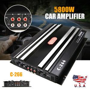 New 5800W Stereo Audio Car Amplifier HiFi Bass Class AB Power Amp 12V Mic Car