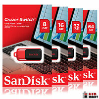Sandisk Cruzer Switch 8GB 16GB 32GB 64GB USB 2.0 Flash Memory Pen Drive Lot Pack