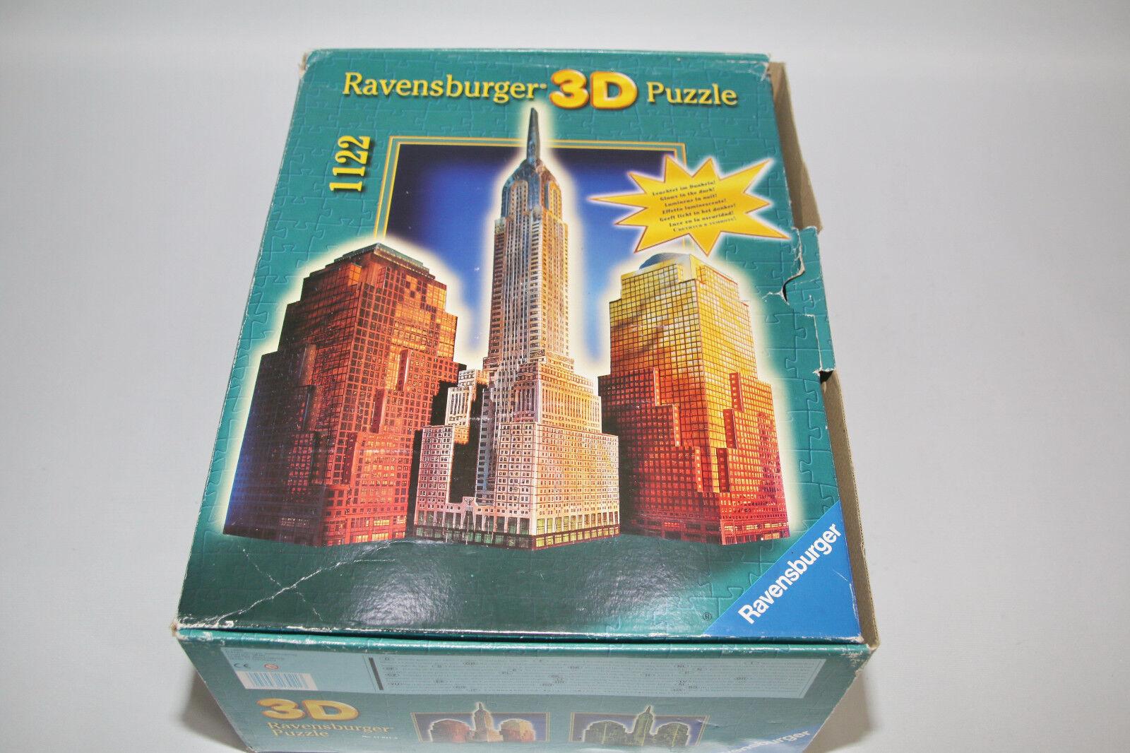 3d Puzzle-New York Skyline 1122 pièces S'allume (1998) Ravensburger 17921 3 nouveau