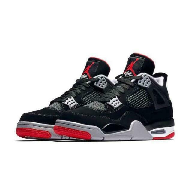 Air Jordan 4 Bred Retro Athletic Shoes for Men - Black