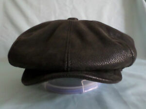96812f90f5f35 MENS 8 PIECE HAT IN BLACK FAUX LEATHER 8 PANEL NEWSBOY BAKER BOY CAP ...