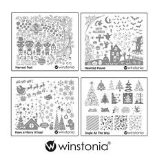 Winstonia Set 5 Nail Art Stamping Image Plate Bundle Holiday Halloween Christmas
