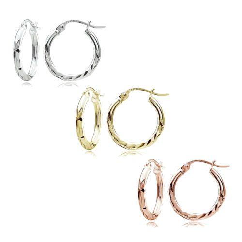 Set de 3 Sterling Silver Tri Color 2x15mm Diamond-Cut Boucles d/'oreilles créoles