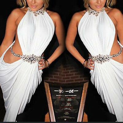 New Sexy Women Bandage Halter Skirt Dress Sleeveless Beach Party Cocktail White