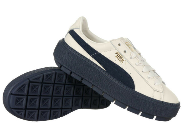 Women's Puma Basket Platform Trace Block Sail Shoes Sneakers Leather Trainers