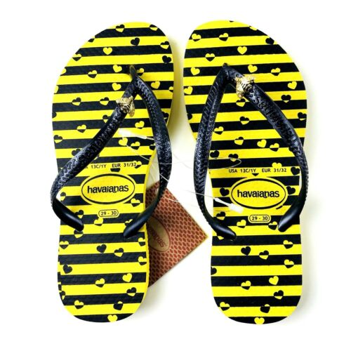 Havaianas Girls Yellow Rubber Striped Bumble Bee Charm Flip Flop Sandals 13C-1Y