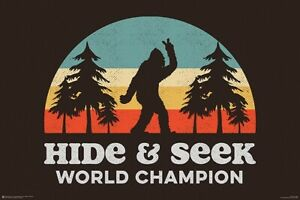 BIGFOOT - HIDE & SEEK WORLD CHAMPION POSTER 24x36 - FUNNY HUMOR 11480
