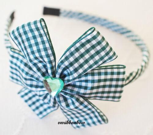 BACK TO SCHOOL Girl Kids Children Hair Accessories Ginham Ribbon Bow Headband