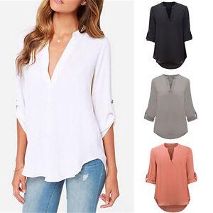 Damen-V-Ausschnitt-Chiffon-3-4-Armel-Bluse-T-Shirt-Freizeit-Oberteile-Tops-S-5XL