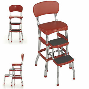 Step-Stool-Chair-Red-Retro-Counter-Padded-Vintage-Style-Kitchen-Pantry-Ladder