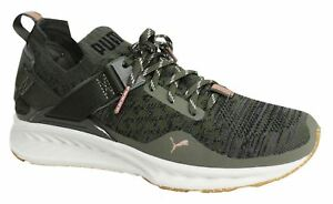 989edd7f2e3 Puma Ignite evoKNIT Lo Lace Up Womens Olive Green Textile Trainers ...