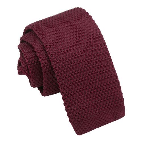 Cabernet Red Boys Tie Knit Knitted Plain Formal Casual Children Necktie by DQT