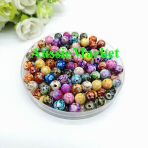 50-x-beads-acrylic-plastic-jewellery-round-mixed-colours-crafts-spacer-8mm-loose
