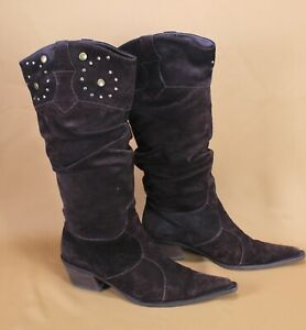 2S-Lasocki-Damen-Stiefel-Boots-Velours-Leder-braun-Gr-38-spitz-Westernlook