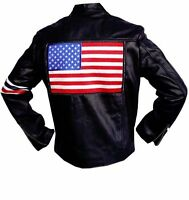 With Us Flag , Peter Fonda Easy Rider Leather Jacket - All Sizes - Fast Shipping