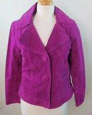 CHICOS 0 SZ SMALL S WOMENS PINK REAL LEATHER COAT JACKET OVER SIZED BUTTONS