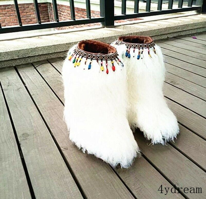 femmes Fashion Faux Fur Fluffy Tassels Cosplay Party Ankle bottes Flats Round Toe
