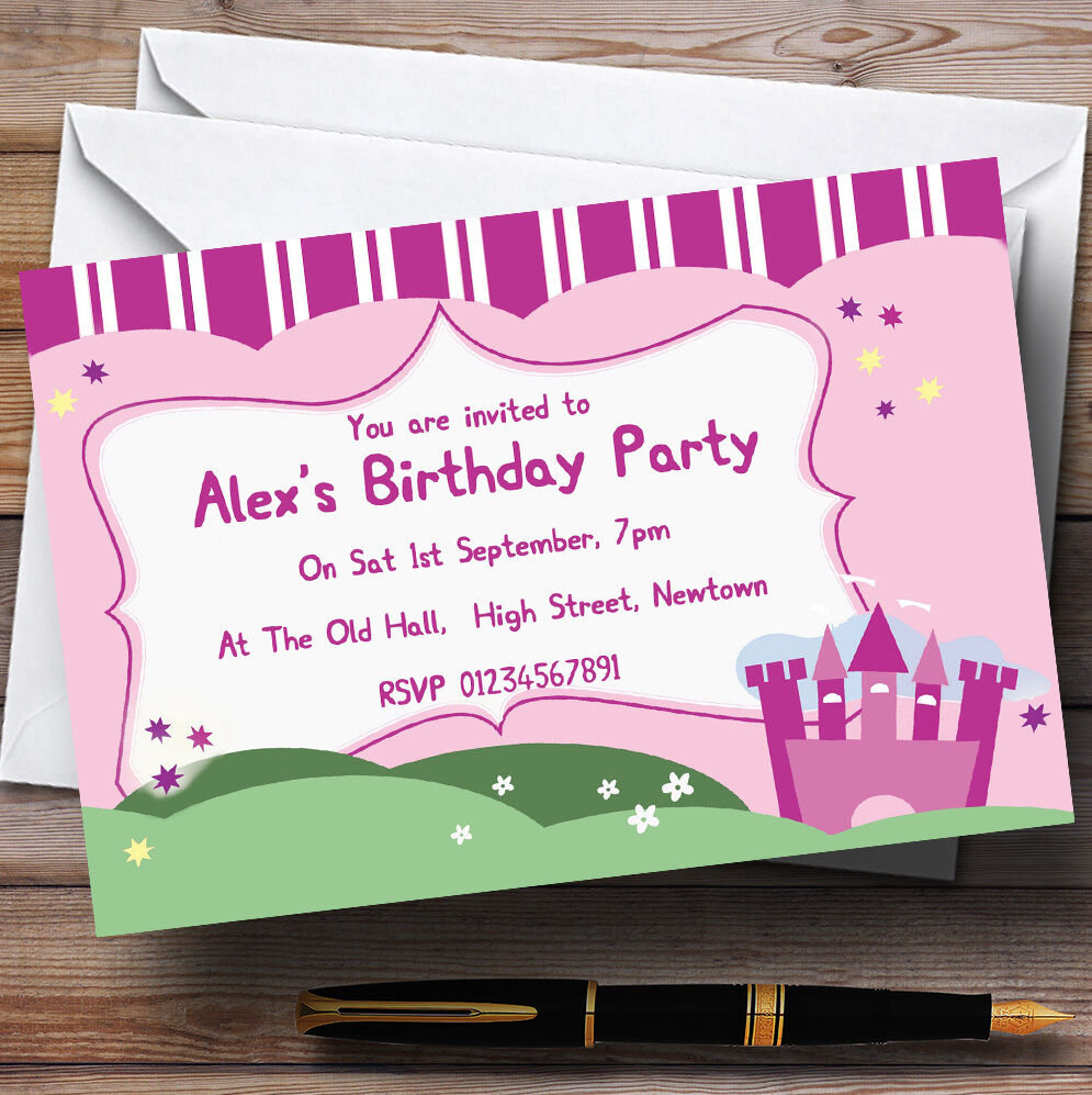 Rosa Princess Castle TH137 Personalised Birthday Party Invitations