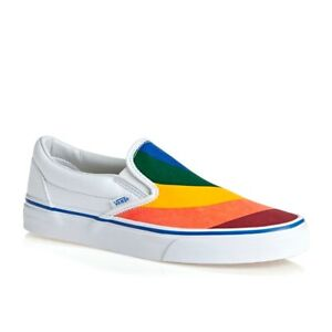 Vans Classic Slip On (Rainbow) True White Pride LGBTQ Shoes Men s ... d0db06ebe