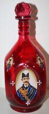 Vintage Ruby Glass Liquor Bottle Decanter w/Portrait of Naser al-Din Shah Qajar