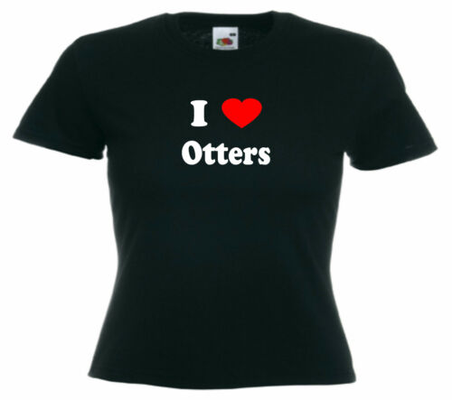 I Love Heart Otters Ladies Fitted T-Shirt