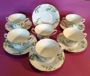 JTC-Malmaison-6-Bouillon-Cups-And-Saucers-Maidenhair-Green-Gold-Germany