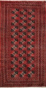 Vintage Geometric Balouch Afghan Oriental Area Rug Hand-Knotted Wool Carpet 4x7