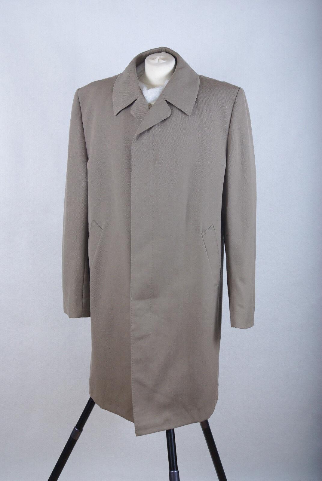 P1378/P04 Truly Vintage Trevira Wool Blend Fibre Grünish Coat, Größe XL 46 in