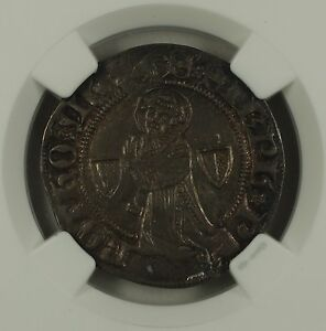 1300-1500-France-Gros-Silver-Coin-Roberts-8932-Metz-Mint-NGC-AU-55-AKR
