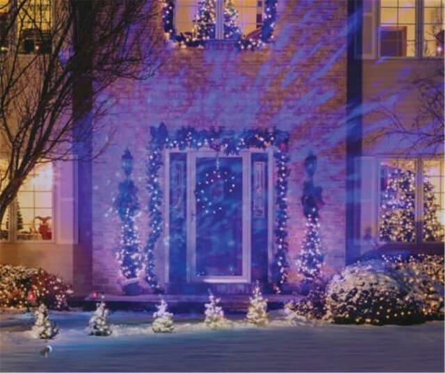 lightshow christmas lights projection light frenzy icy blue white outdoor led