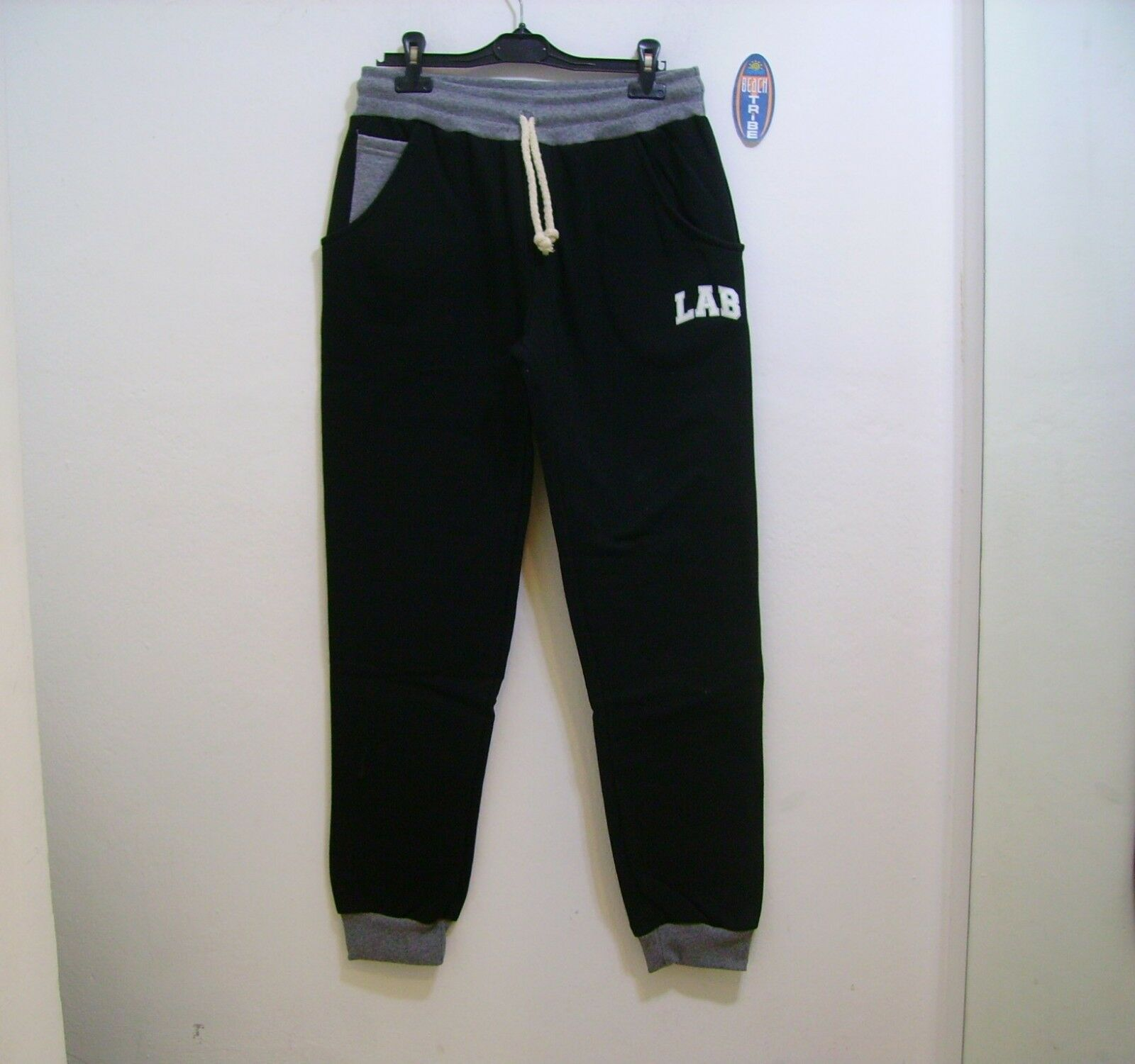 Lab84 Pantalone Tuta Lungo Felpa Invernale S8 PNTM1009 Nero Grigio Melange