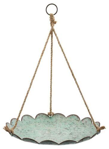 "Blue//Green Metal Hanging Birdbath Bird Feeder Tray Garden Home Decor 19/"" D NEW"