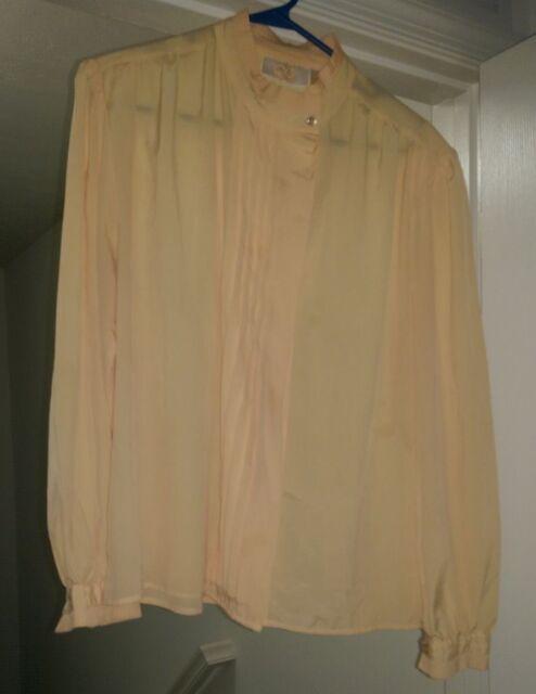 Career Guild Womens Yellow Button Down Semi Sheer Shirt Top Blouse Size 18