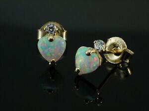 750 Gold Herz Ohrstecker mit Opalen Grösse  7,4 mm  1 Paar