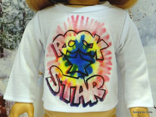 WHITE ROCK STAR Long Sleeve DOLL T-SHIRT fits 18 AMERICAN GIRL Doll Clothes