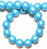 W298f Blue Metallic 12mm Round Wood Beads 15