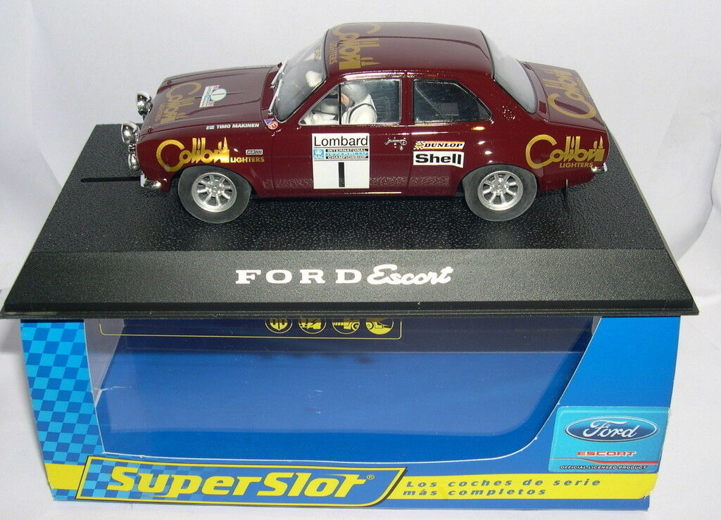 SUPERSLOT H2757 SLOT CAR FORD ESCORT RS 1600 TIMO MÄKINEN SCALEXTRIC UK MB