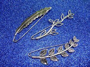 Silver-Feather-Leaves-Vine-Decorative-Pin-Brooch-Abaya-Hijab-Kilt-Shawl-Scarf