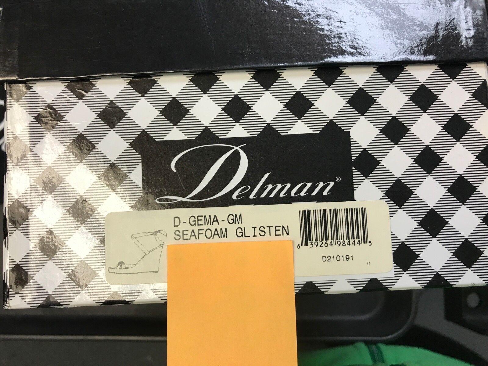Delman Gema Cuña Seafoam Glisten Zapatos Cuero Tiras Wrap Wrap Wrap Tobillo Lazo Metálico 00d29c