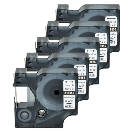 "5x Heat Shrink Tube Label IND Tape Black on White 18055 For Dymo Rhino 5200 1//2/"""