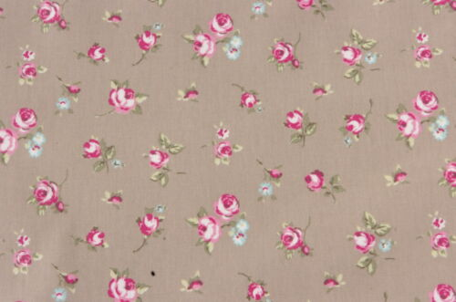 "1.3m//52/"" ROUND wipeable wipe clean rosebuds taupe pvc oilcloth  TABLECLOTH CO"