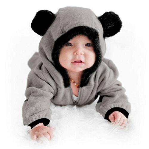 Infant Baby Girls Boys Solid Cartoon Ears Hoodie Romper Clothes Fleece Jumpsuit